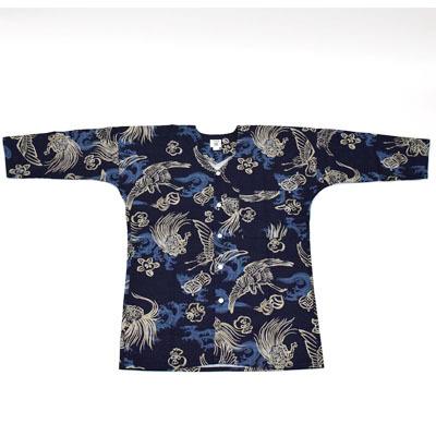 画像1: 【祭衣装】 【一心】【ウエダオリジナル】 大人用鯉口シャツ 「鶴亀」  (1)
