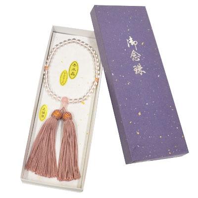 画像1: 【御念珠】 婦人用 天然石念珠 本水晶ローズクォーツ入り正絹房(化粧箱入) (1)