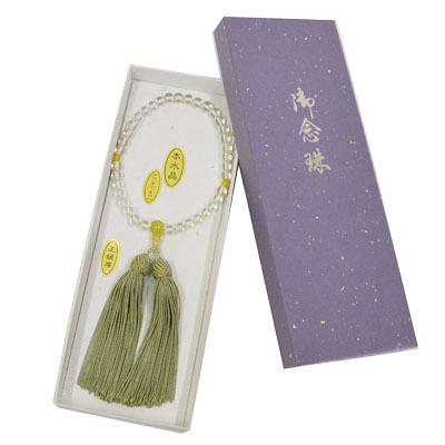 画像1: 【御念珠】 婦人用 天然石念珠 本水晶グリーンオニキス入り正絹房(化粧箱入) (1)