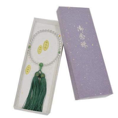 画像1: 【御念珠】 婦人用 天然石念珠 本水晶翡翠入り正絹房(化粧箱入) (1)