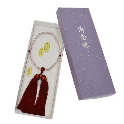 画像1: 【御念珠】 婦人用 天然石念珠 本水晶瑪瑙入り正絹房(化粧箱入) (1)