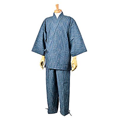 画像1: [紳士作務衣]久留米・紬絣織り (1)