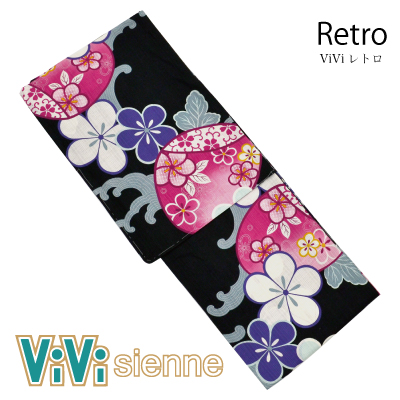 画像1: [ブランド浴衣:ViVi Sienne] 婦人浴衣 [Retro](捺染)[20%OFF] (1)