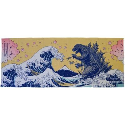 画像1: [捺染手拭い]富嶽三十六景大怪獣ノ図(桜)【GODZILLA/ゴジラシリーズ】 (1)