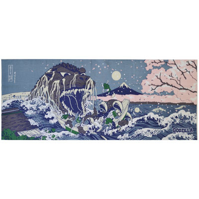 画像1: [捺染手拭い]富嶽三十六景大怪獣桜之宴 【GODZILLA/ゴジラシリーズ】 (1)