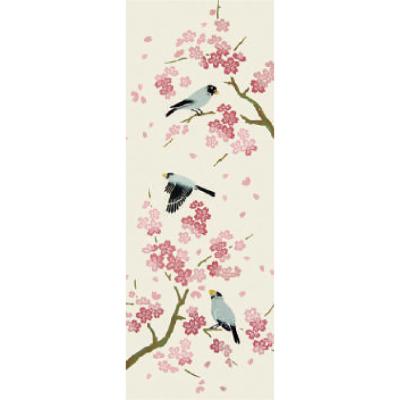 画像1: [和布華:注染手拭い]桜と文鳥 (1)