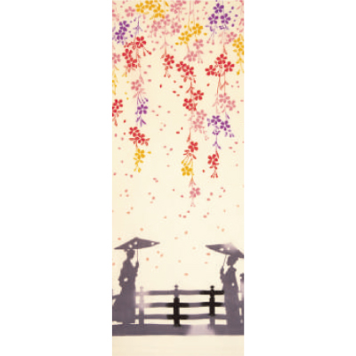 画像1: [和布華:注染手拭い]舞桜風景 (1)