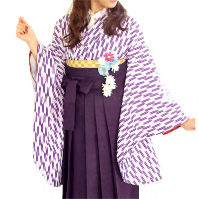 画像1: 【卒業衣装】【リニューアル】「2尺袖着物 はいからさん (矢絣)紫」  定番人気 卒業衣裳 卒業着物 矢絣 矢羽根 簡単着付け 可愛い 素敵 (1)