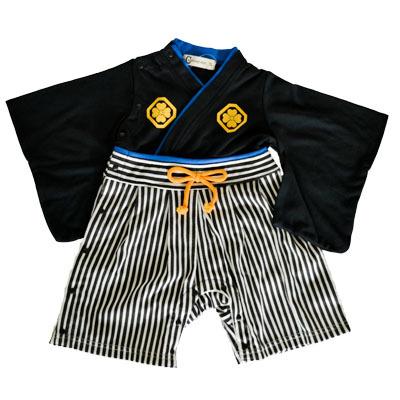画像1: 【BABY】 袴ロンパス 男児 黒紋付 (1)
