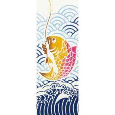 画像1: [和布華:注染手拭い]釣ったっ鯛 (1)