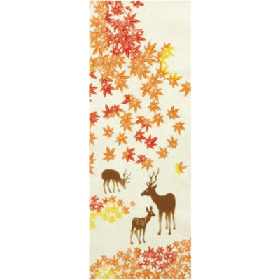 画像1: [和布華:注染手拭い]鹿に紅葉 (1)