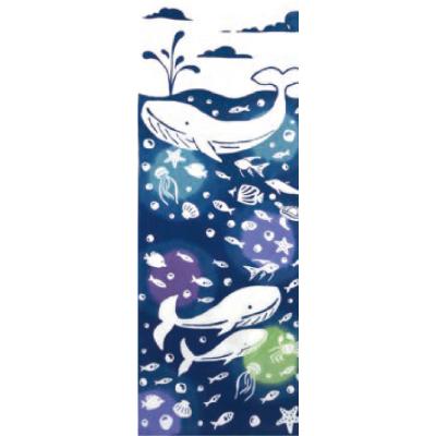 画像1: [和布華:注染手拭い]クジラと魚たち (1)