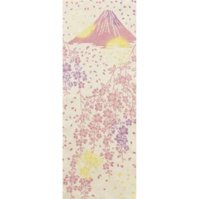 画像1: [和布華:注染手拭い]しだれ桜と富士山(金糸) (1)