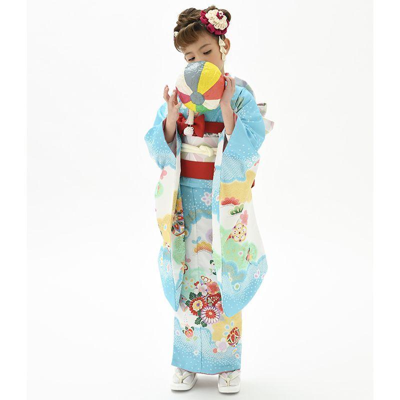 画像1: 【2021年 花うさぎ 】 「四つ身小紋着物 花丸(水色)」  合繊 7歳 晴れ着 ブランド 人気 古典 礼節 価値あり かわいい オシャレ (1)