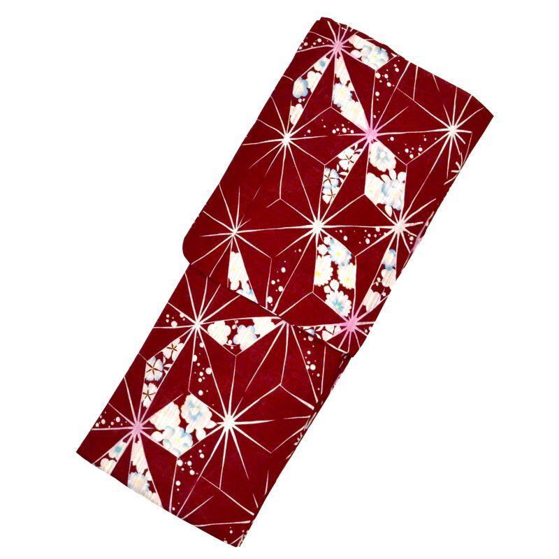 画像1: 【浴衣】「bonheur saisons ノスタルジックギャラリー懐 綿麻ゆかた エンジ」麻の葉 赤系 婦人浴衣 レディース 女性 Women's 夏 祭 縁日 花火 涼 (1)