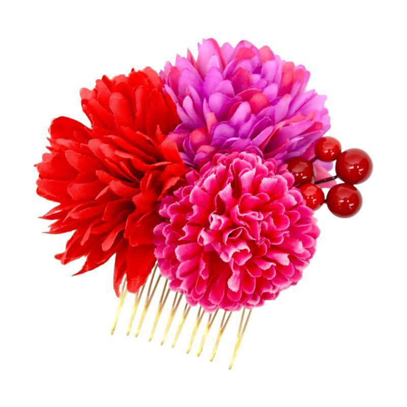 画像1: 【髪飾り】「丸花コーム」 菊 花 華 アクセサリー 和装 浴衣 おしゃれ かわいい 可愛い (1)