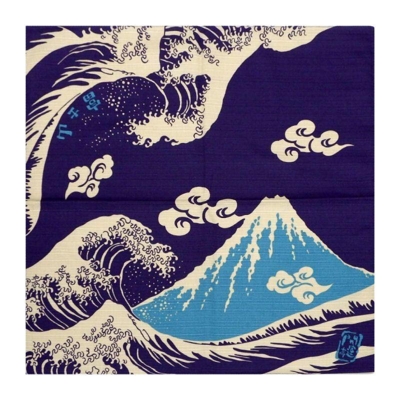 画像1: 【開運亭:縁起小風呂敷】「富士山」綿100% 50cm角 チーフ 日本製 (1)