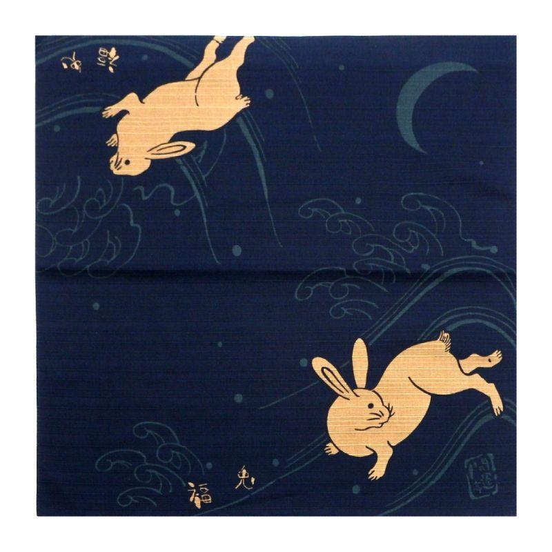 画像1: 【開運亭:縁起小風呂敷】「福兎」綿100% 50cm角 チーフ 日本製 ウサギ うさぎ 卯 (1)