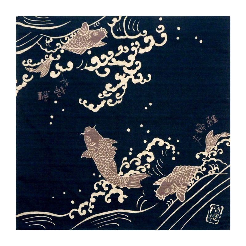 画像1: 【開運亭:縁起小風呂敷】「夫婦鯉」綿100% 50cm角 チーフ 日本製 こい コイ (1)