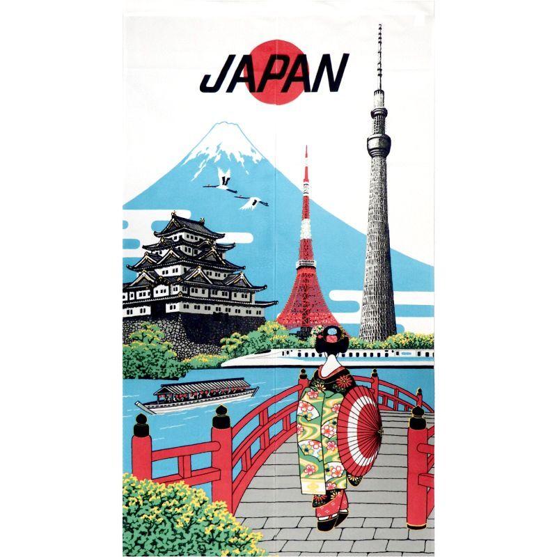 画像1: 【のれん】「美しい日本の文化:日本観光」レース 浮世絵 葛飾北斎 東京タワー スカイツリー 富士山 城 舞妓 鶴 日本製 (1)