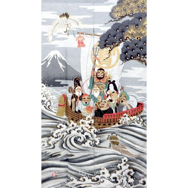 画像1: 【のれん】「美しい日本の文化:鶴亀七福神」モヘア 浮世絵 葛飾北斎 日本製 (1)