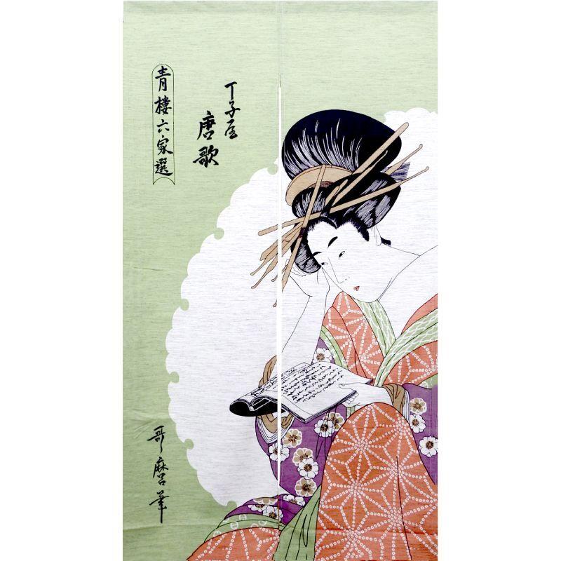 画像1: 【のれん】「美人画:唐歌」モヘア 浮世絵 歌麿 栄之 舞妓 芸妓 遊郭 日本製 (1)