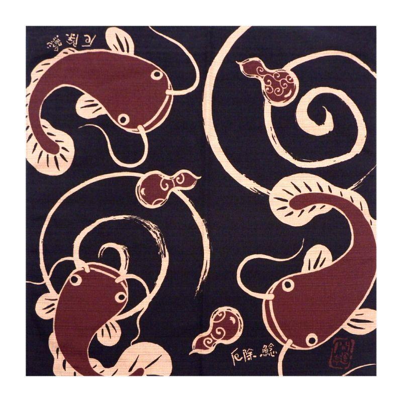 画像1: 【開運亭:縁起小風呂敷】「厄除け鯰」綿100% 50cm角 チーフ 日本製 なまず ナマズ (1)