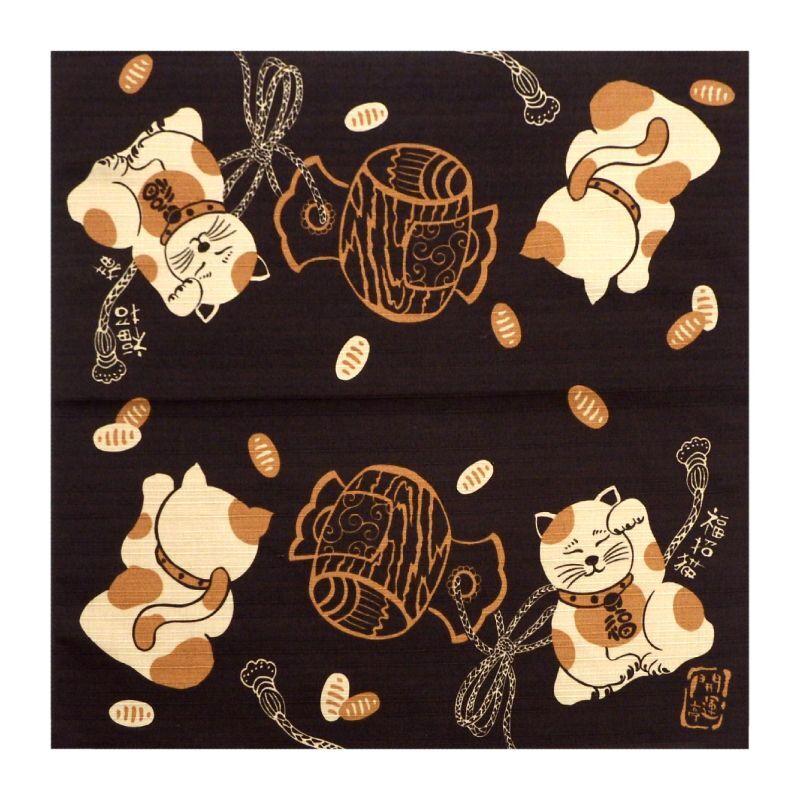 画像1: 【開運亭:縁起小風呂敷】「福招き猫」綿100% 50cm角 チーフ 日本製 ネコ ねこ (1)