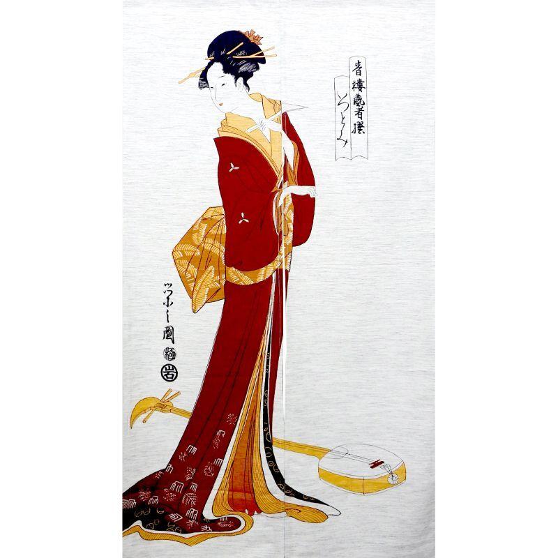 画像1: 【のれん】「美人画:三味線と女」モヘア 浮世絵 歌麿 栄之 舞妓 芸妓 遊郭 日本製 (1)