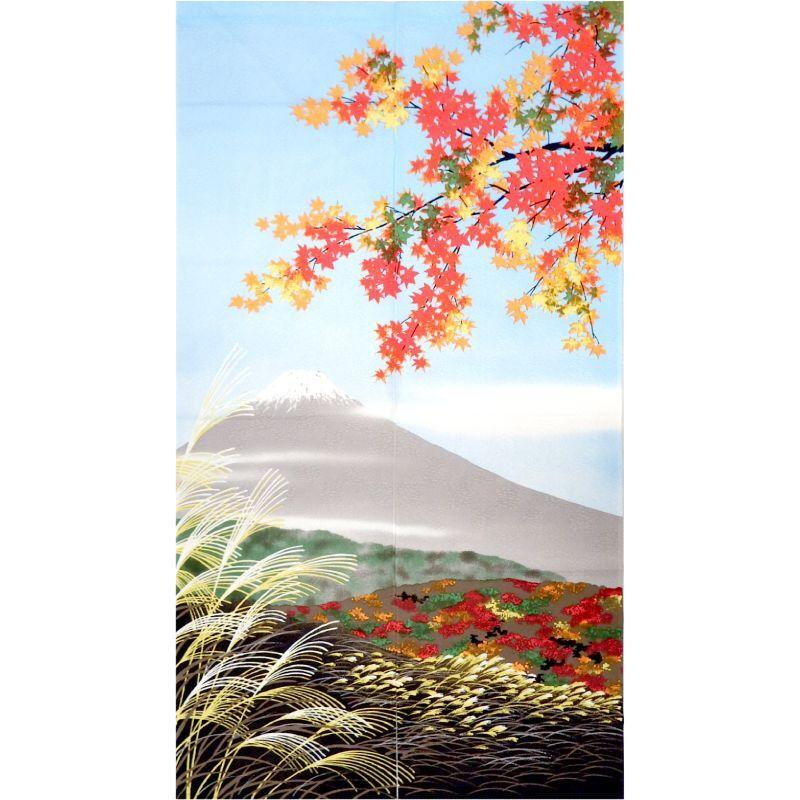 画像1: 【のれん】「四季:秋富士」ポリエステル 日本製 (1)