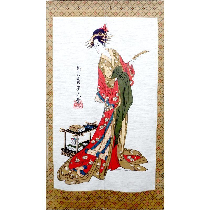 画像1: 【のれん】「美人画:短冊と女」モヘア 浮世絵 歌麿 栄之 舞妓 芸妓 遊郭 日本製 (1)