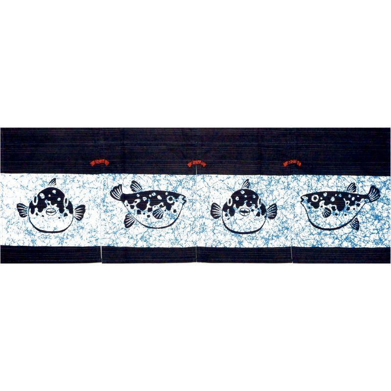 画像1: 【のれん】「ローケツ風とらふぐ 30丈」綿100% 日本製 フグ 河豚 鰒 (1)