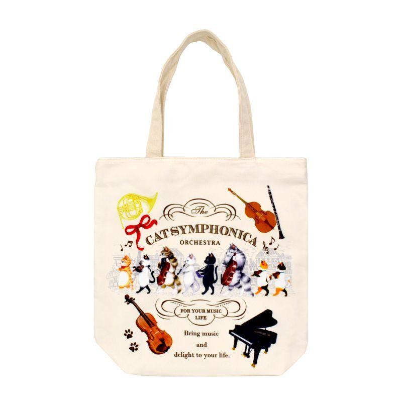 画像1: 【COLOR PRINT TOTE BAG】「ミディアムトート マーチ」中国製 トートバッグ バック 猫 ネコ ねこ 音楽 かわいい カワイイ 可愛い おしゃれ オシャレ (1)