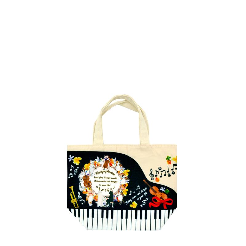 画像1: 【COLOR PRINT TOTE BAG】「ミニトート ピアノ」中国製 トートバッグ バック 猫 ネコ ねこ 音楽 かわいい カワイイ 可愛い おしゃれ オシャレ (1)